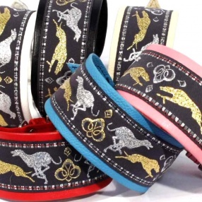 Leather collars with running sighthounds